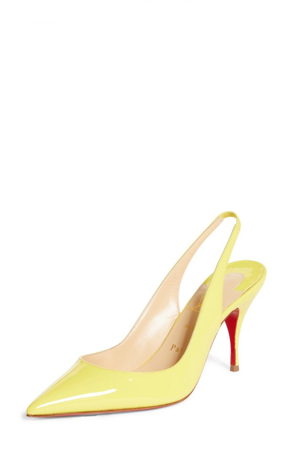 Women's Christian Louboutin Clare Pointed Toe Slingback Pump, Size 9US - Yellow