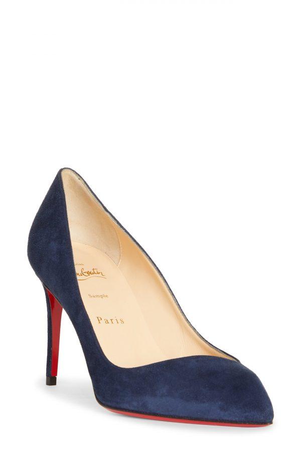 Women's Christian Louboutin Corneille Pointed Toe Pump, Size 7.5US - Blue