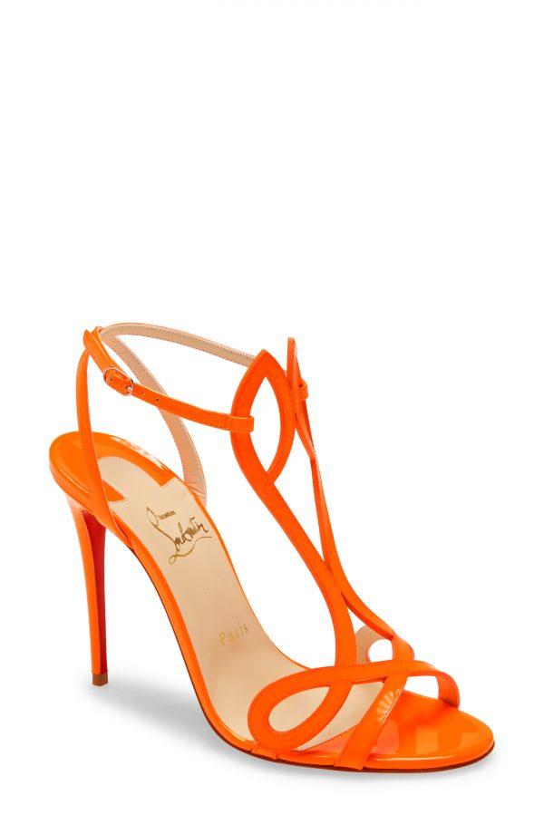 Women's Christian Louboutin Double L Fluorescent Patent Leather Sandal, Size 11US - Orange