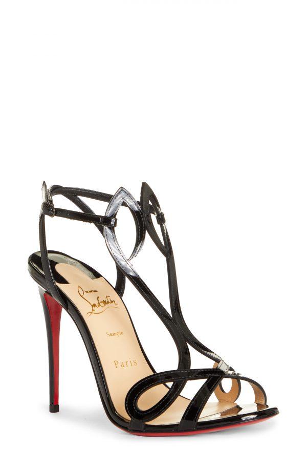 Women's Christian Louboutin Double L Patent Leather Sandal, Size 5US - Black