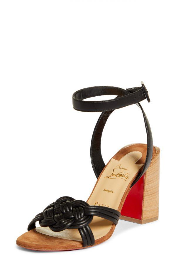 Women's Christian Louboutin Ella Ankle Strap Sandal, Size 5US - Black