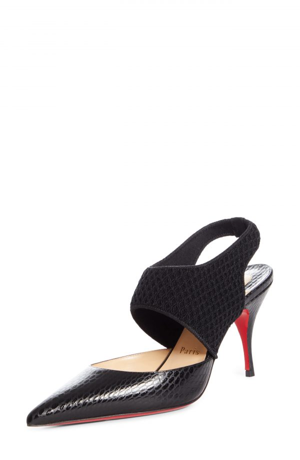 Women's Christian Louboutin Georgette Reptile Embossed Pointed Toe Pump, Size 5.5US - Black