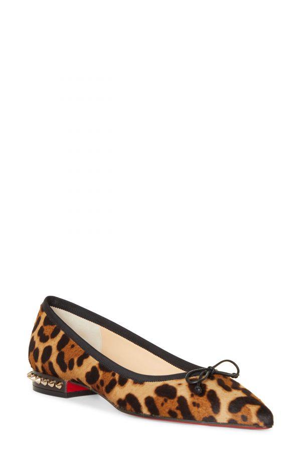 Women's Christian Louboutin Hall Leopard Genuine Calf Hair Flat, Size 5US - Brown