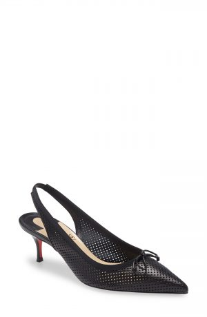 Women's Christian Louboutin Hall Perforated Slingback Pump, Size 4US - Black