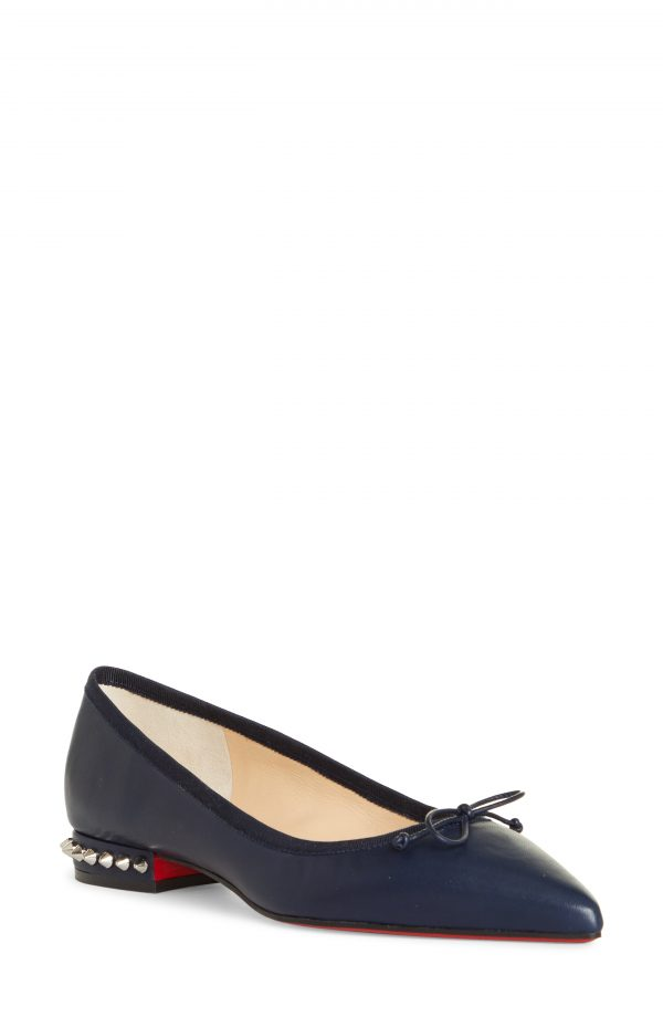 Women's Christian Louboutin Hall Studded Pointed Toe Bow Flat, Size 5US - Blue