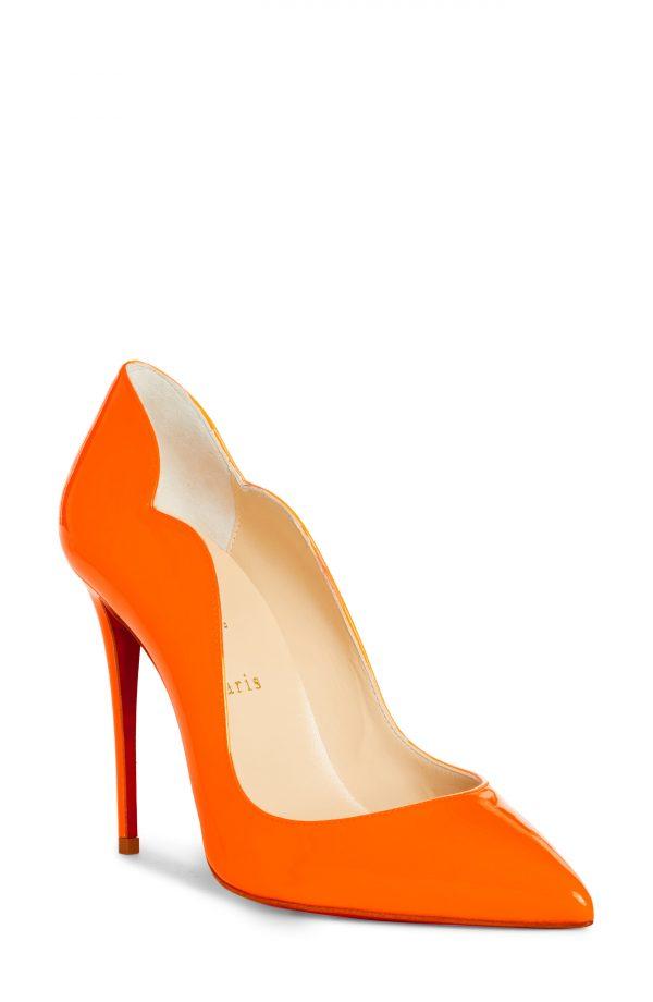 Women's Christian Louboutin Hot Chick Fluorescent Patent Leather Pump, Size 4US - Orange