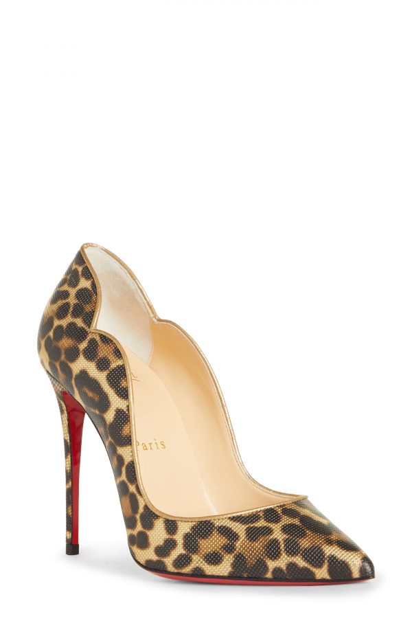 Women's Christian Louboutin Hot Chick Leopard Pump, Size 4US - Brown