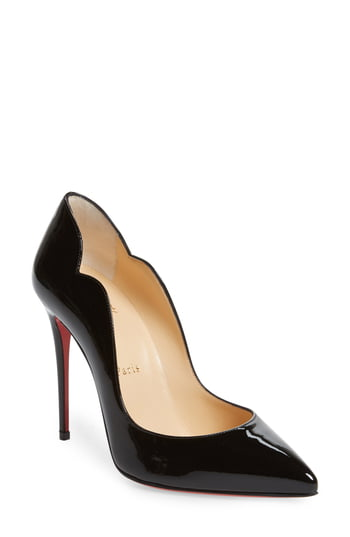 Women's Christian Louboutin Hot Chick Scallop Pointed Toe Pump, Size 4US - Black