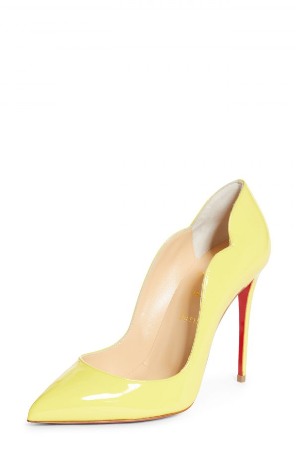 Women's Christian Louboutin Hot Chick Scallop Pointed Toe Pump, Size 5US - Yellow