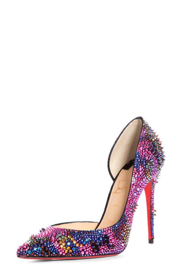 Women's Christian Louboutin Iriza Bling Bang Crystal Spike Half D'Orsay Pump, Size 10US - Pink