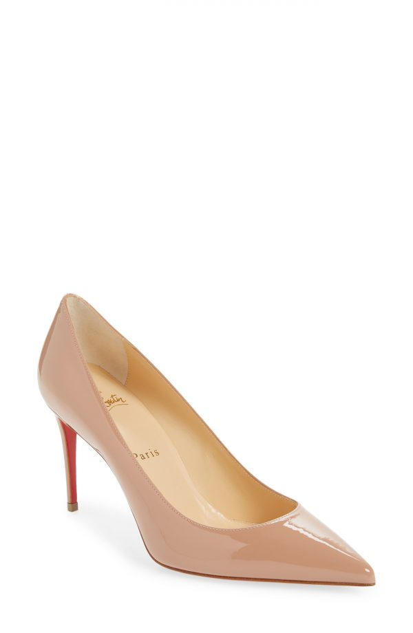 Women's Christian Louboutin Kate Pointed Toe Patent Leather Pump, Size 5US - Beige