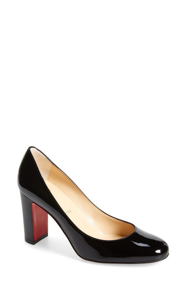 Women's Christian Louboutin Lady Gena Round Toe Pump, Size 4US - Black