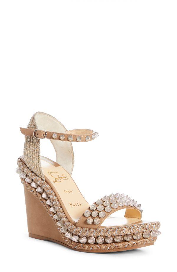 Women's Christian Louboutin Lata Stud Wedge Sandal, Size 4US - Beige