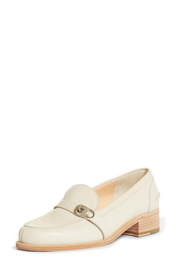 Women's Christian Louboutin Lock Me Moc Loafer, Size 8US - White