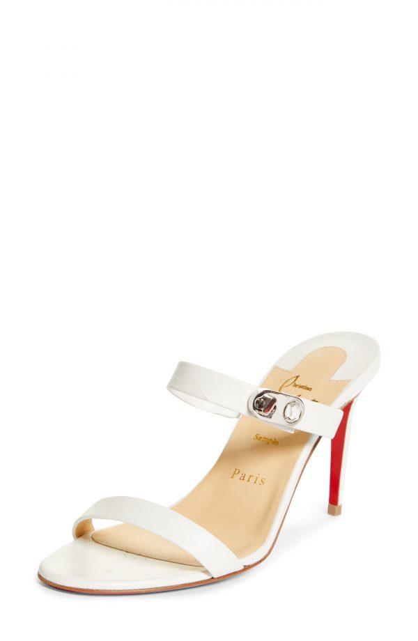 Women's Christian Louboutin Lock Me Slide Sandal, Size 4US - White
