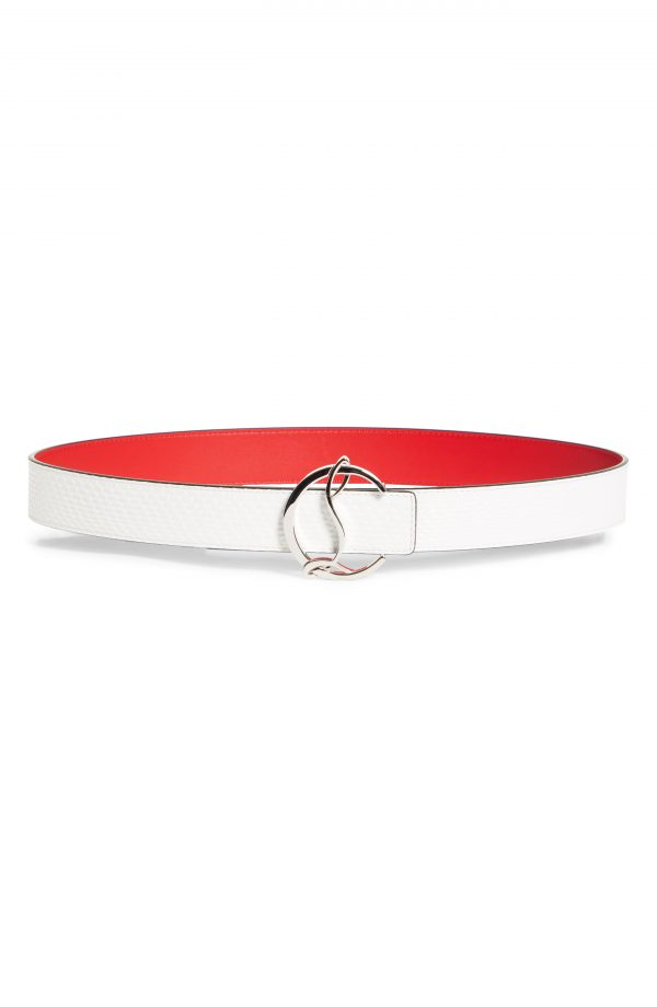 Women's Christian Louboutin Logo Buckle Embossed Leather Belt, Size 80 - Bianco/silver (H924)