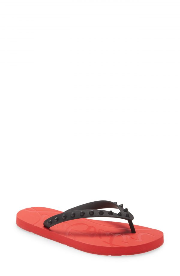 Women's Christian Louboutin Loubi Gomme Flip Flop, Size 4US - Black
