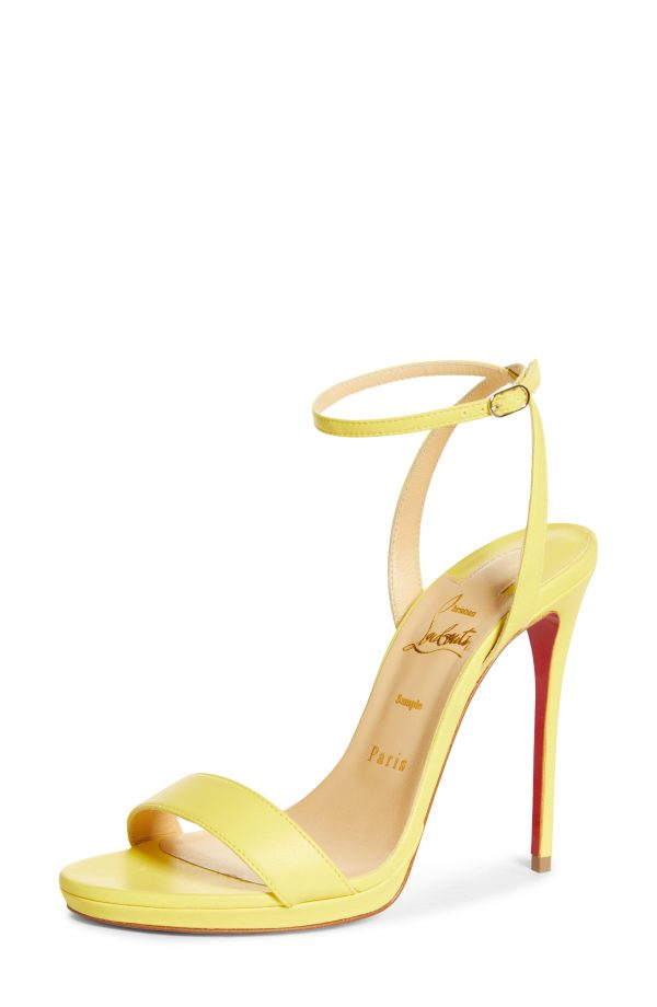 Women's Christian Louboutin Loubi Queen Ankle Strap Sandal, Size 5US - Yellow