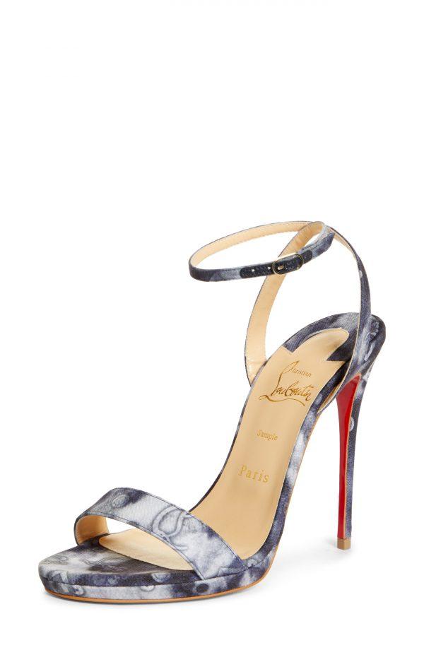 Women's Christian Louboutin Loubi Queen Ankle Strap Sandal, Size 6US - Blue