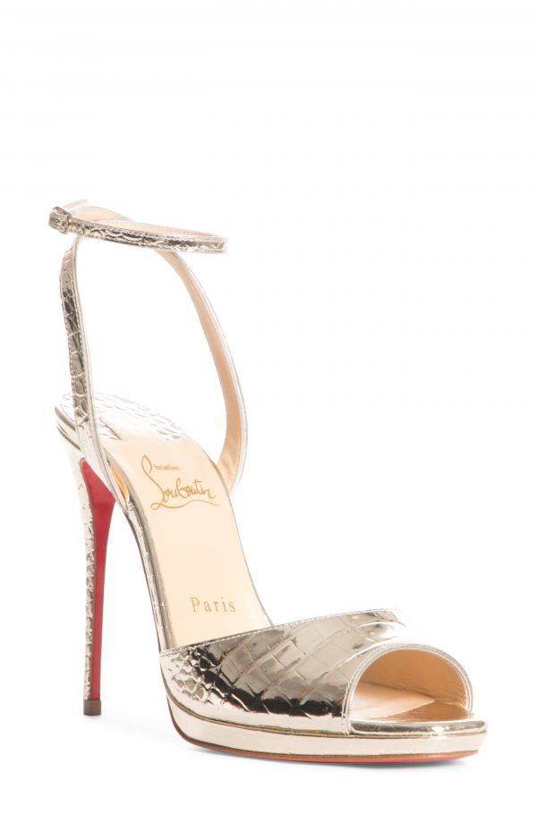 Women's Christian Louboutin Loubiloo Metallic Croc Embossed Ankle Strap Sandal, Size 7.5US - Metallic