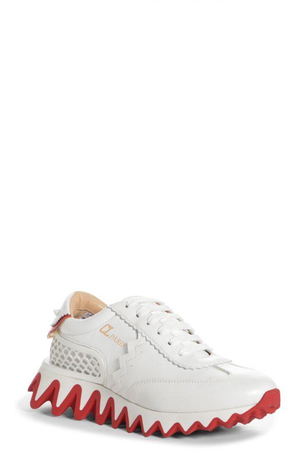 Women's Christian Louboutin Loubishark Sneaker, Size 6US - White