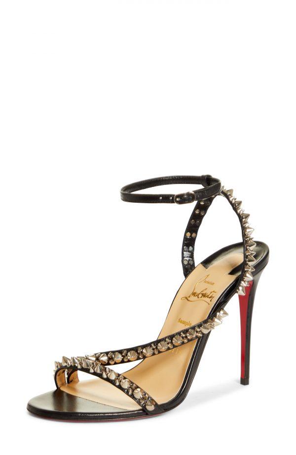Women's Christian Louboutin Mafaldina Spikes Sandal, Size 9.5US - Black