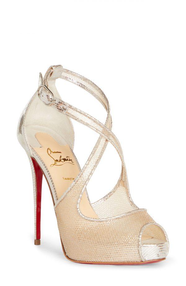 Women's Christian Louboutin Mariacar Crisscross Platform Sandal, Size 10US - Beige