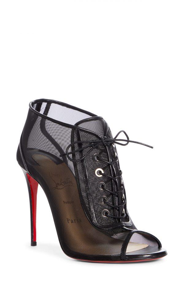 Women's Christian Louboutin Ondessa Mesh Lace Up Peep Toe Bootie, Size 6US - Black