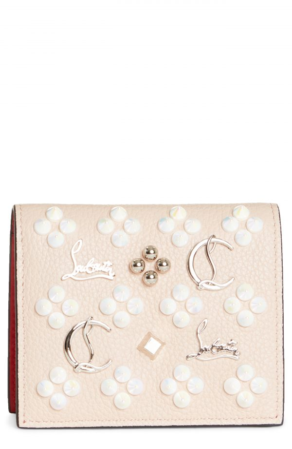 Women's Christian Louboutin Palatin Spike Logo Leather Bifold Wallet - Pink