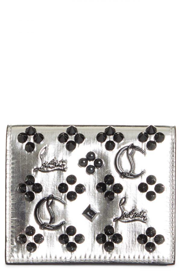 Women's Christian Louboutin Palatin Spike Logo Metallic Leather Bifold Wallet - Metallic