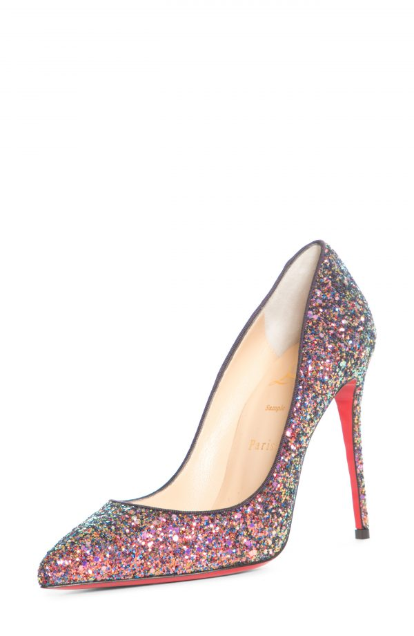 Women's Christian Louboutin Pigalle Follies Glitter Pointed Toe Pump, Size 7US - Pink