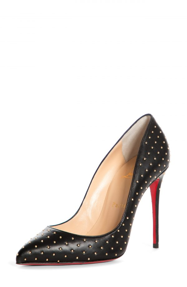 Women's Christian Louboutin Pigalle Follies Plume Pointed Toe Pump, Size 10US - Black