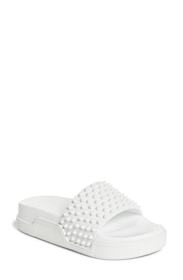Women's Christian Louboutin Pool Fun Slide Sandal, Size 5US - White