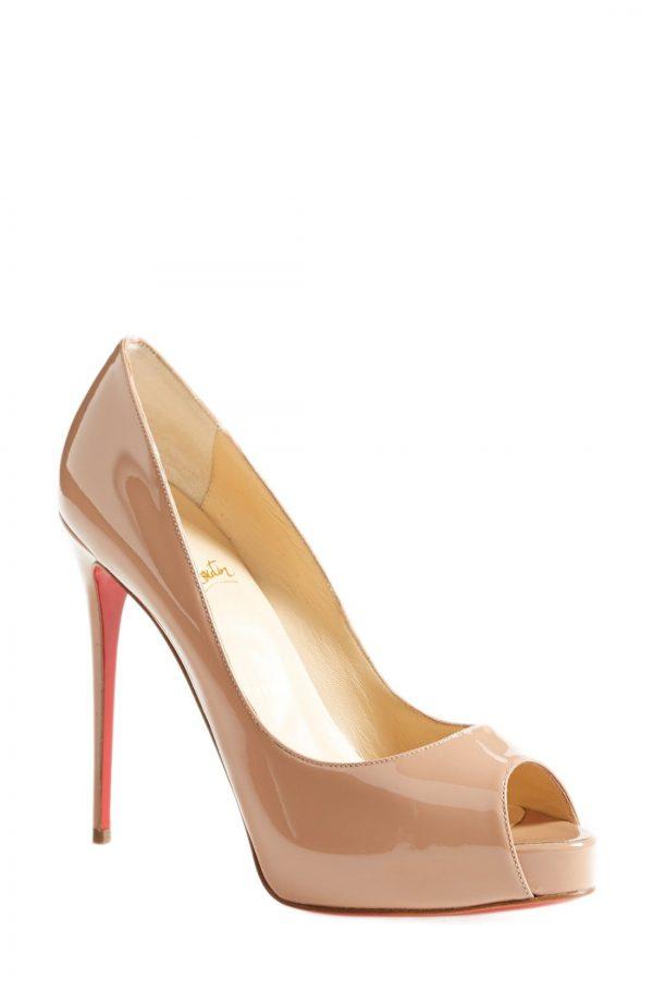 Women's Christian Louboutin Prive Open Toe Pump, Size 10.5US - Beige