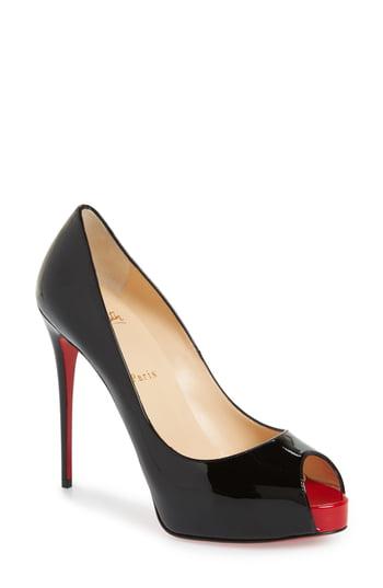 Women's Christian Louboutin Prive Open Toe Pump, Size 9US - Black