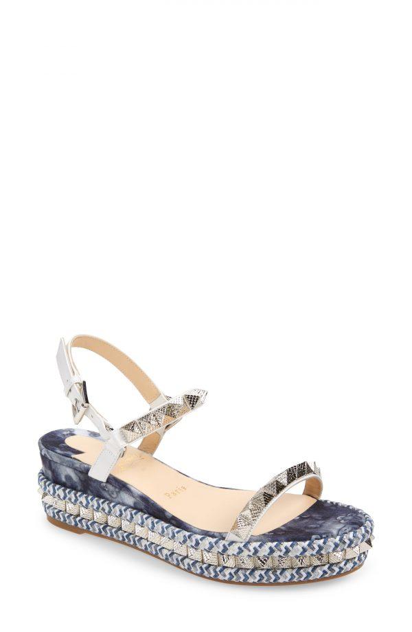 Women's Christian Louboutin Pyraclou Studded Platform Wedge Sandal, Size 6US - White