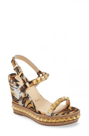 Women's Christian Louboutin Pyraclou Tiger Print Studded Wedge Sandal, Size 5US - Brown