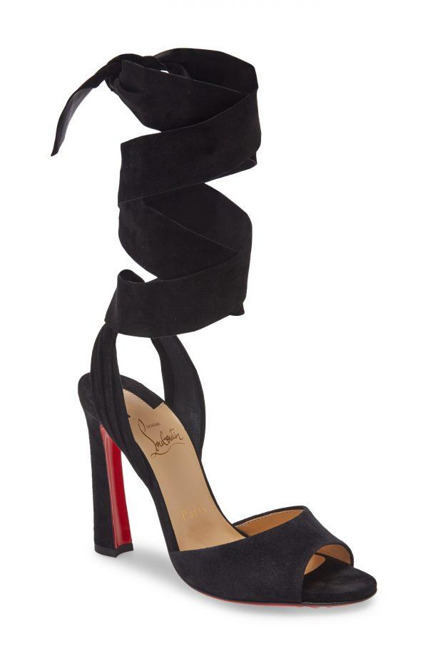 Women's Christian Louboutin Rose Amelie Ankle Wrap Sandal, Size 5US - Black