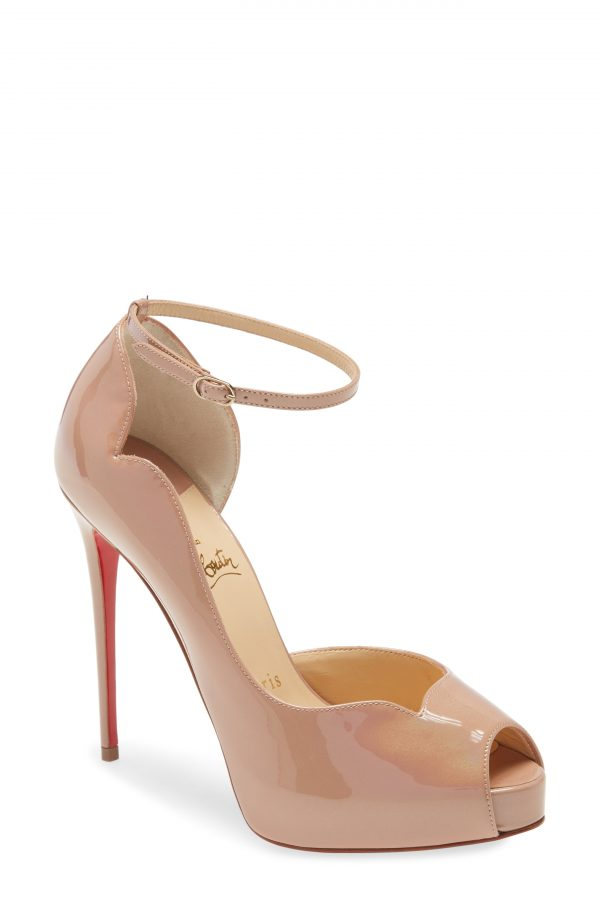 Women's Christian Louboutin Round Chick Peep Toe Pump, Size 9US - Beige