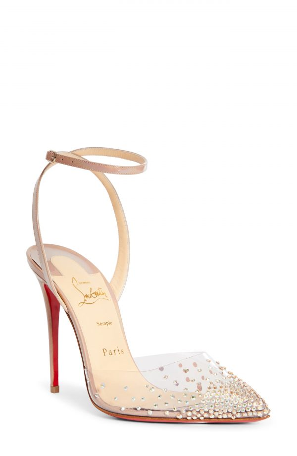 Women's Christian Louboutin Spikaqueen Crystal Pump, Size 7.5US - Beige
