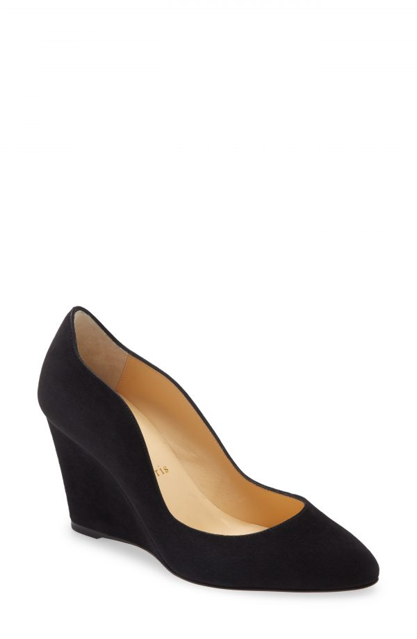 Women's Christian Louboutin Tanija Wedge Pump, Size 5US - Black