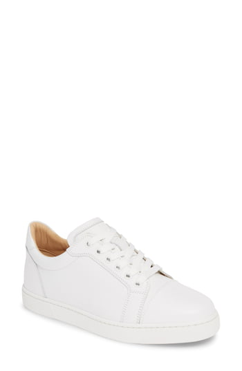 Women's Christian Louboutin Vieira Lace-Up Sneaker, Size 9US - White