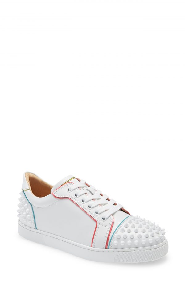 Women's Christian Louboutin Vieiraa 2 Spike Low Top Sneaker, Size 9.5US - White