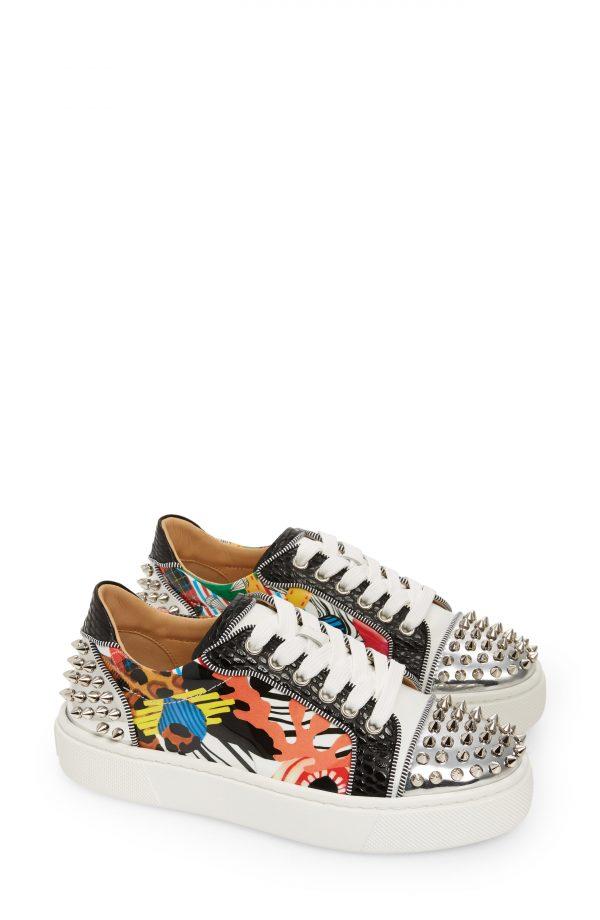 Women's Christian Louboutin Vieirissima 2 Spike Low Top Sneaker, Size 5.5US - White