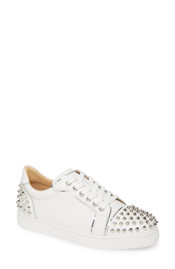 Women's Christian Louboutin Vieirissima Spike Low Top Sneaker, Size 8US - White