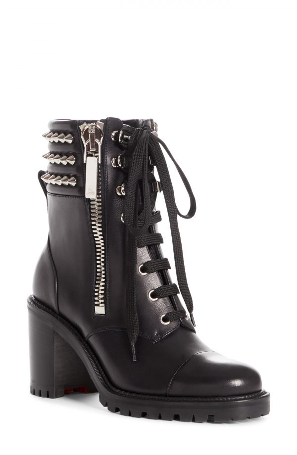Women's Christian Louboutin Winter Spikes Lace-Up Boot, Size 5.5US - Black
