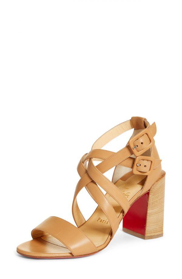 Women's Christian Louboutin Zefira Strappy Sandal, Size 5.5US - Beige