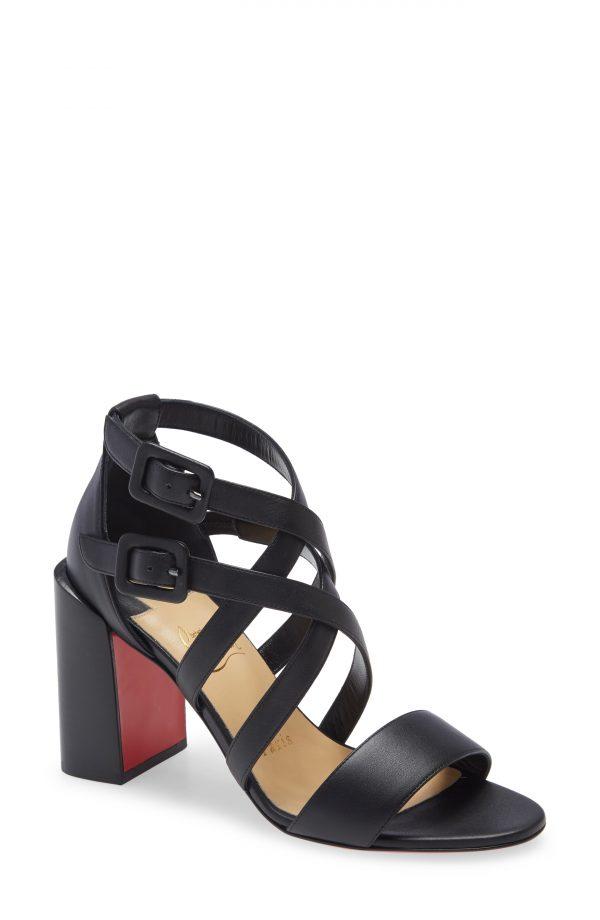Women's Christian Louboutin Zefira Strappy Sandal, Size 5US - Black