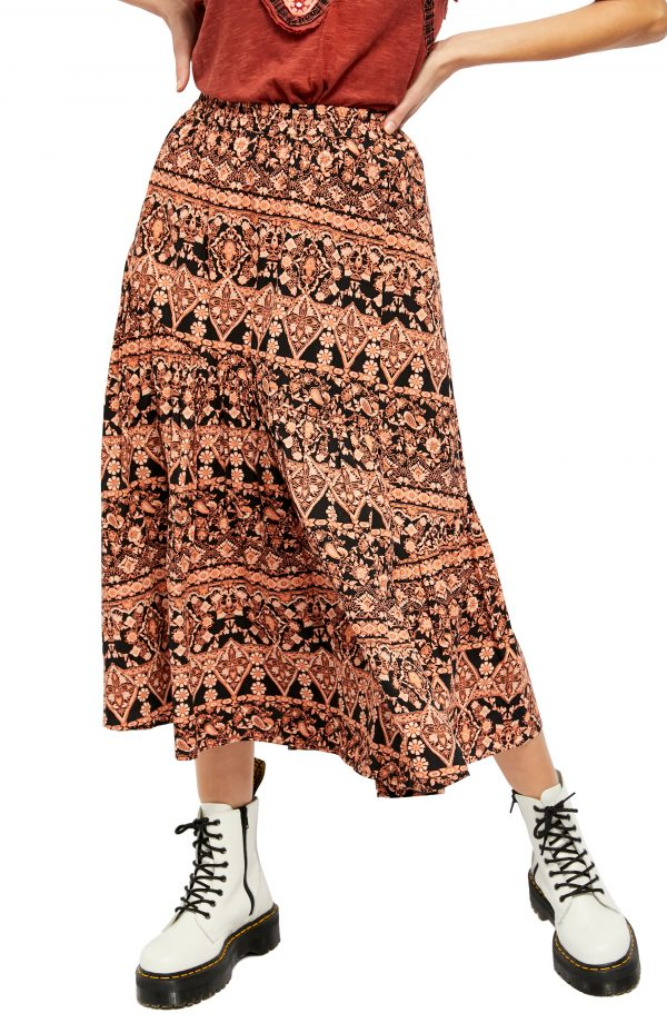 Women's Free People All About The Tiers A-Line Skirt, Size X-Small - Ivory
