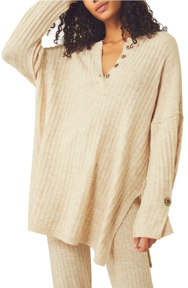 Women's Free People Around The Clock Tunic Sweater, Size X-Small - Ivory